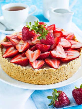 Cheesecake with strawberries photo