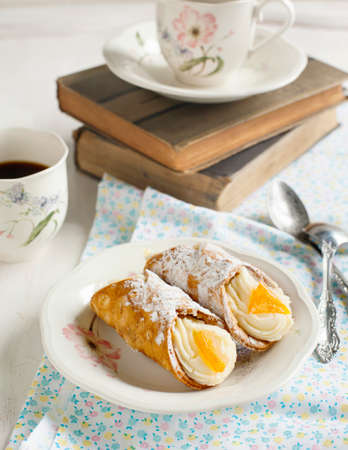 cannoli pastry: Sicilian cannoli with orange  Typical sicilian pastry