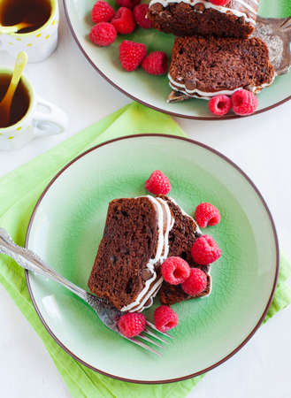 Triple chocolate loaf cake with raspberry photo