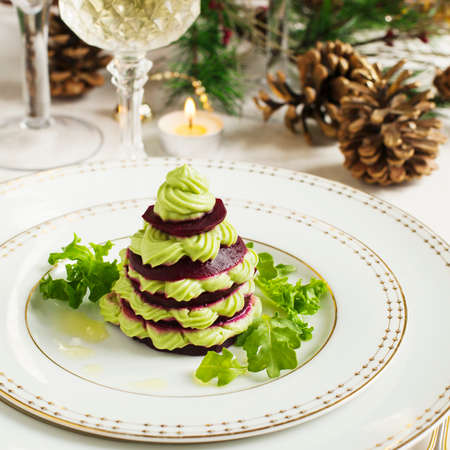 Millefeuille with beetroot and avocado mousse