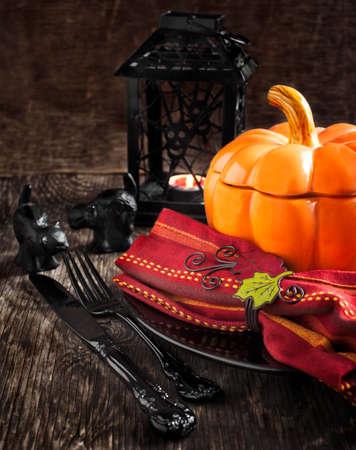 Halloween table setting photo
