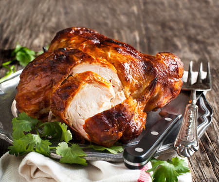 Whole roasted chicken photo
