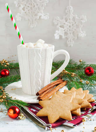Cup of hot chocolate with marshmallow and Christmas cookies photo
