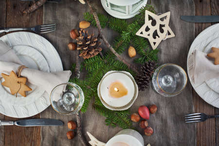glass plate: Christmas table setting. Holiday Decorations. Stock Photo