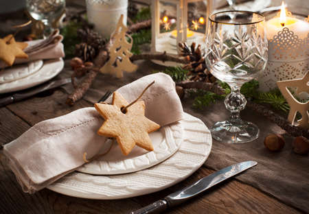 Christmas table setting. Holiday Decorations. 스톡 콘텐츠