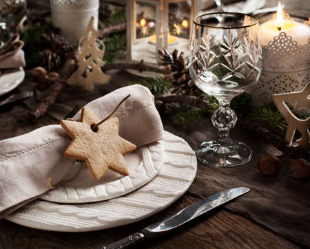 Christmas table setting. Holiday Decorations. Stock Photo