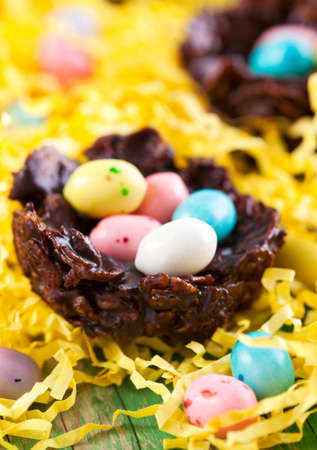 Chocolate nest with colorful candy