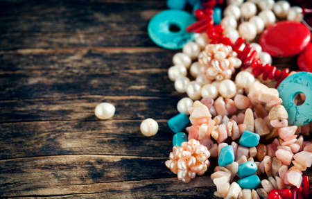 pink pearl: Different colorful beads. Bead making accessories Stock Photo