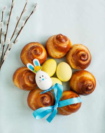 Easter Sweet Bread Wreath Stok Fotoğraf