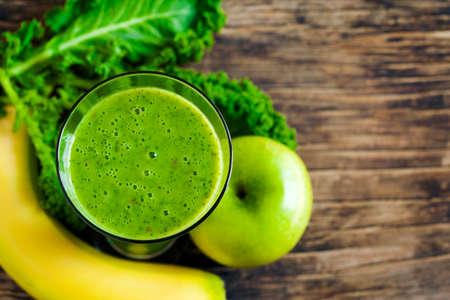 green: Green juice. Healthy drink. Top view