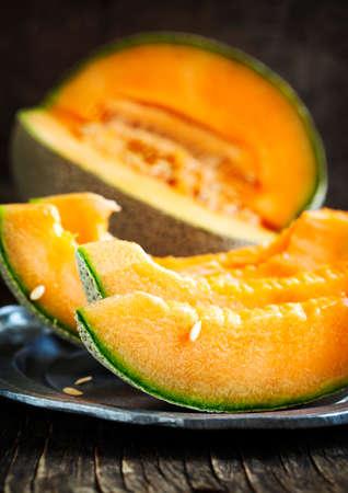 cantaloupe: Cantaloupe melon slices.