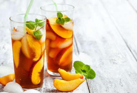 herb tea: Peach Iced Tea Stock Photo