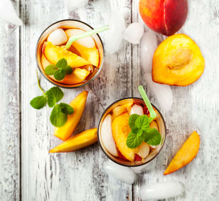 cold drinks: Peach iced tea