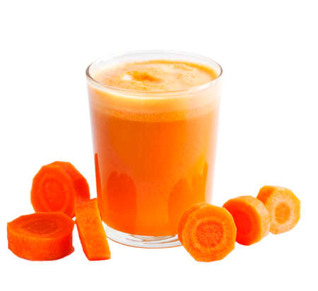 horisontal: Carrot juice in glass cup isolated on white background