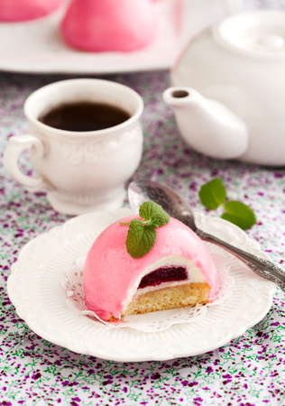 Bush black currant cake with creamy mousse.