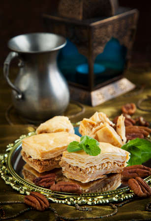 turkish dessert: Baklava with honey and nuts. Traditional Turkish dessert.