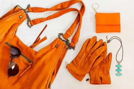 Woman accessories in orange color