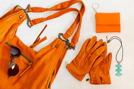 Woman accessories in orange color