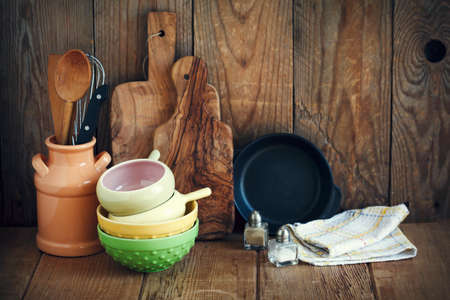 vintage kitchen: Kitchen utensils Stock Photo