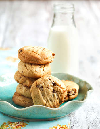 milk and cookies: Peanut butter cookies with chocolate chips