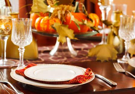 Thanksgiving Tisch Einstellung Standard-Bild - 46609872