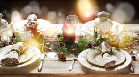 dinner table: Christmas table setting. Holiday Decorations