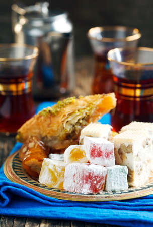 baklawa: Turkish sweets. Baklawa, mixed Lokum, Grape Molasses with walnut, Nougat with walnut