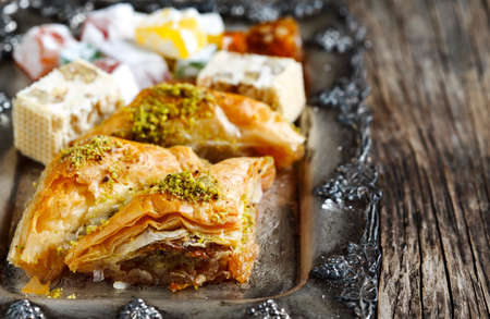 baklawa: Turkish sweets. Baklawa, mixed Lokum, Grape Molasses with walnut, Nougat with walnut