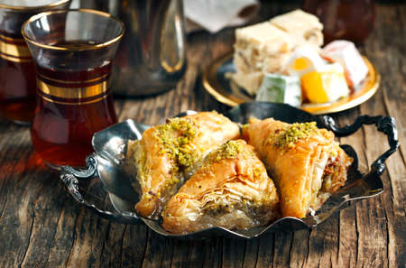 sweet: Turkish sweets. Baklawa, mixed Lokum, Grape Molasses with walnut, Nougat with walnut
