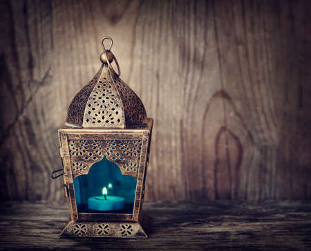 Gold Arabic Lantern. Toned image Stock Photo
