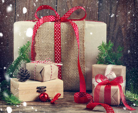 Christmas gifts. Toned image