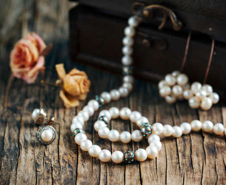 Pearl necklaces and earrings.
