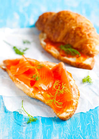 cream cheese: Croissant with salmon and cream cheese Stock Photo
