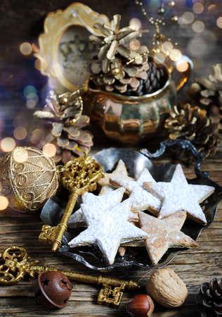 Christmas cookies and holiday decoration Banco de Imagens
