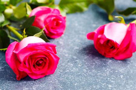 Beautiful pink roses and gerberas Stock Photo