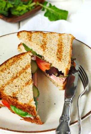 Mortadella and vegetable sandwich