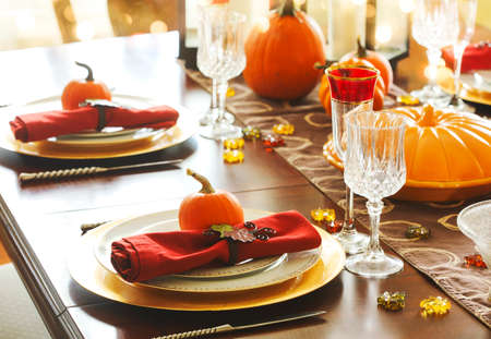 Thanksgiving table setting. Autumn table