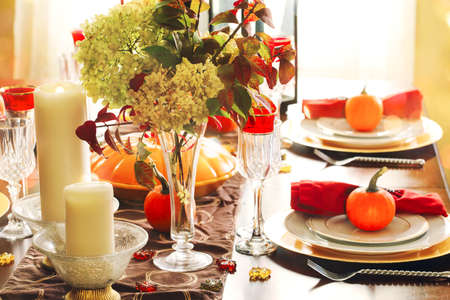 Thanksgiving table setting. Autumn table photo & Thanksgiving Table Setting. Autumn Table Stock Photo Picture And ...