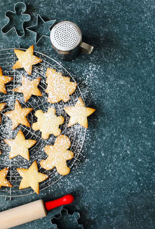 Christmas cookies, top view Reklamní fotografie