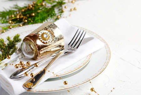 Christmas table setting. Holiday background, copy space Stock Photo