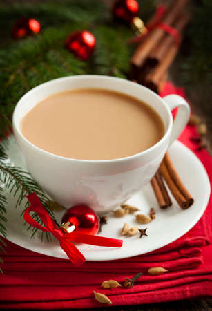 Indian black tea. Masala tea. Spiced tea with milk Stock Photo