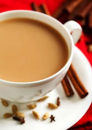Indian black tea. Masala tea. Spiced tea with milk 写真素材
