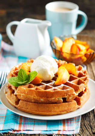 Belgian waffles with caramelized  and honey