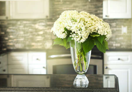 Bouquet of Hydrangea on kitchen table