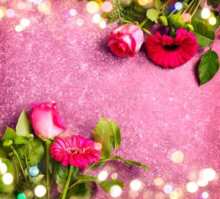 Beautiful pink roses and gerbers Stock Photo