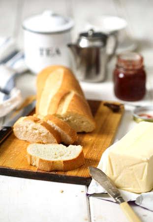 Butter on a fresh crunchy bread. Stok Fotoğraf