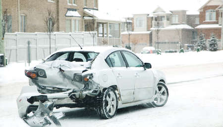 Car accident in winter. Danger of riding in the winter. Canada Stok Fotoğraf