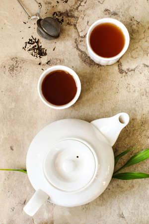 Chinese tea. Pu-erh Tea, top view Banco de Imagens - 115241421