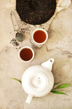 Chinese tea. Pu-erh Tea, top view Banco de Imagens - 115241841