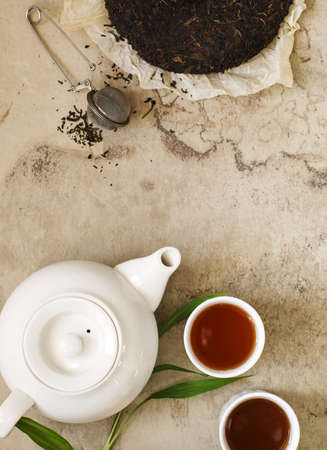 Chinese tea. Pu-erh Tea, top view, copy space Banco de Imagens - 115242695